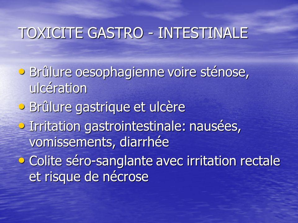 TOXICITE GASTRO - INTESTINALE