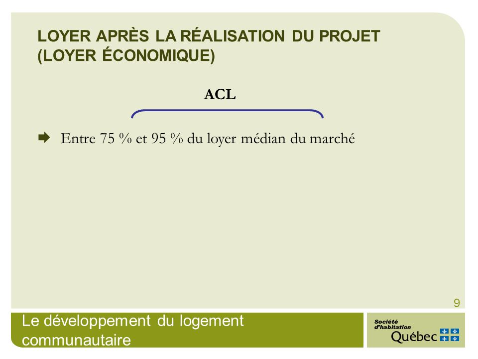 LOYER APRÈS LA RÉALISATION DU PROJET (LOYER ÉCONOMIQUE)
