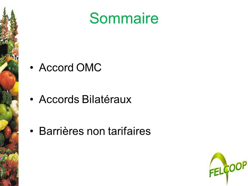 Sommaire Accord OMC Accords Bilatéraux Barrières non tarifaires
