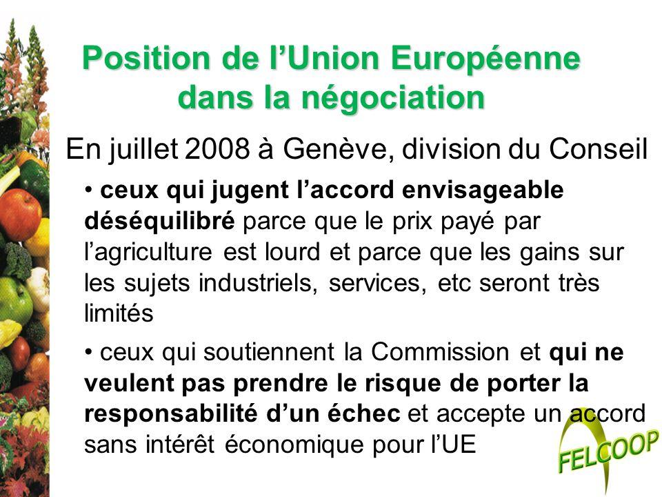 Position de l'Union Européenne dans la négociation