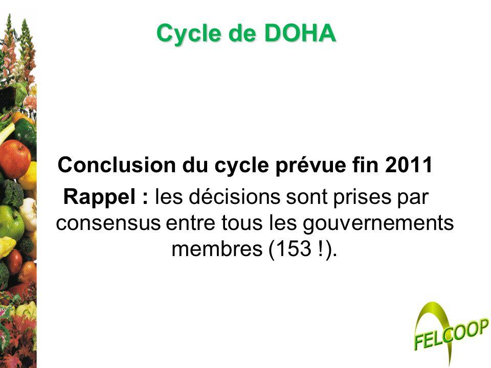 Cycle de DOHA Conclusion du cycle prévue fin 2011 Rappel : les décisions sont prises par consensus entre tous les gouvernements membres (153 !).