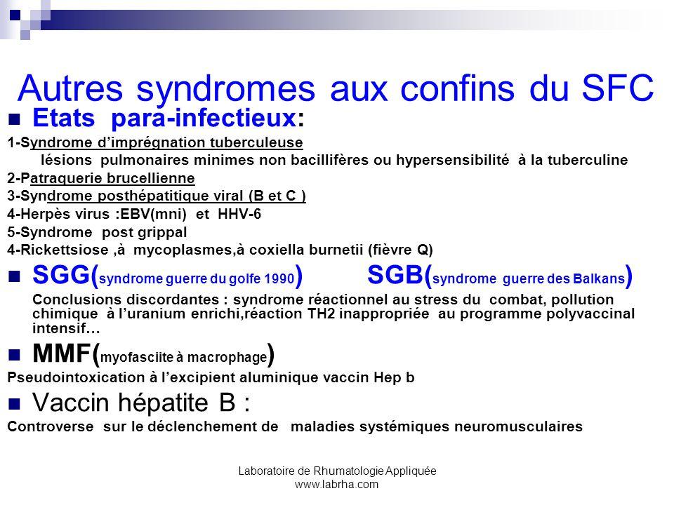 Autres syndromes aux confins du SFC