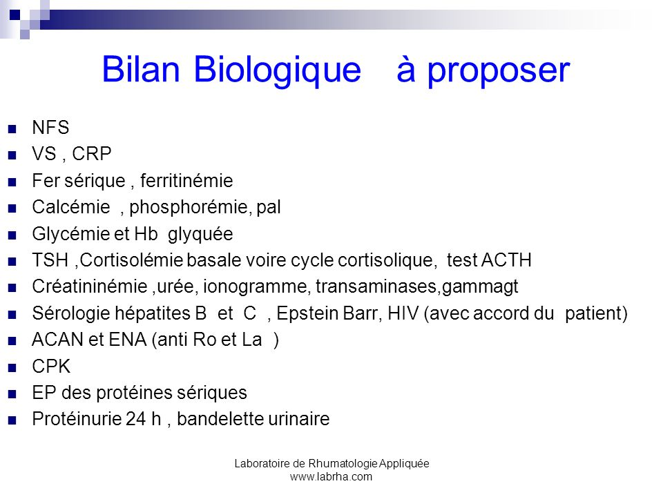 Bilan Biologique à proposer