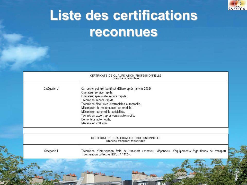 Liste des certifications reconnues