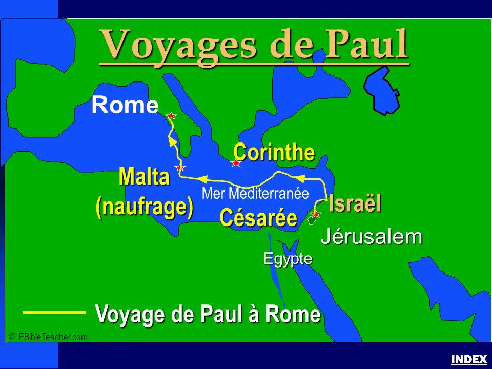 Voyages de Paul Rome Corinthe Malta (naufrage) Israël Césarée