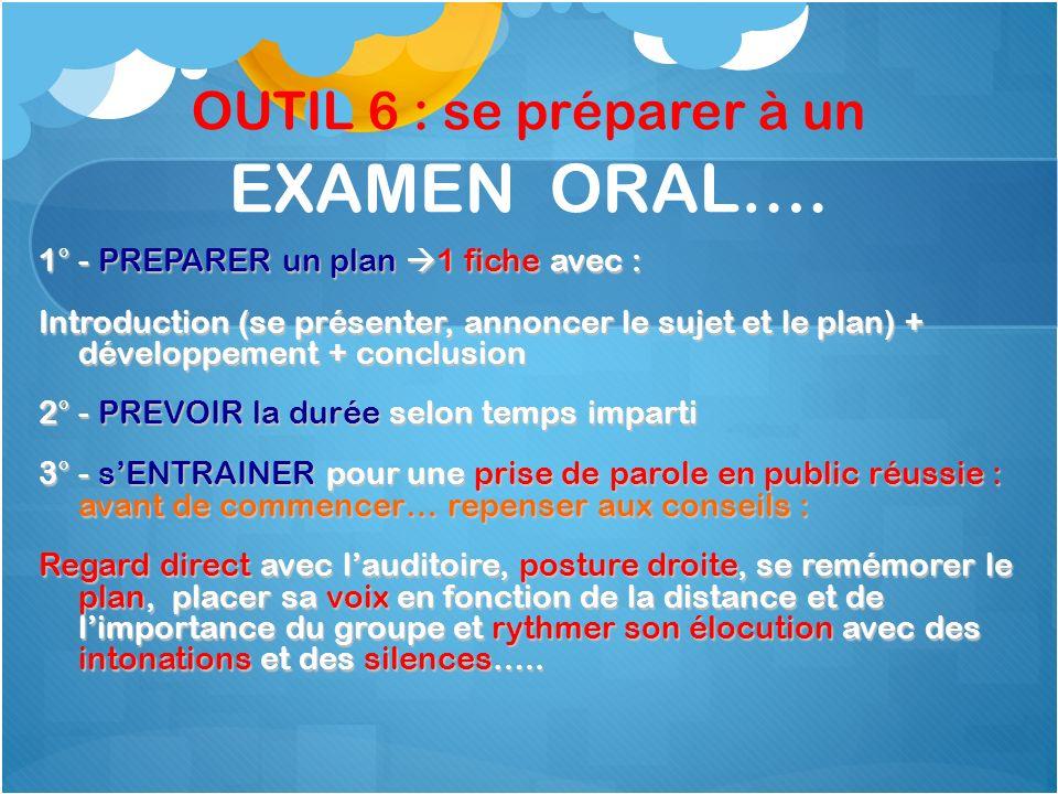 OUTIL 6 : se préparer à un EXAMEN ORAL….