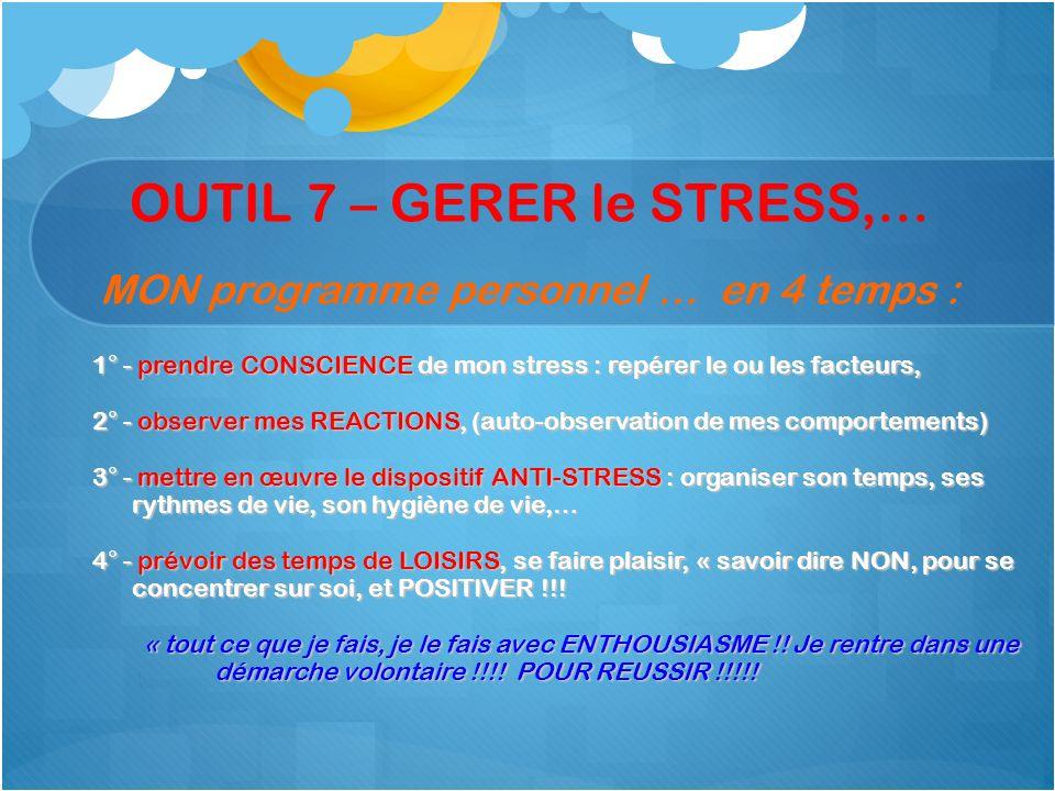 OUTIL 7 – GERER le STRESS,… MON programme personnel … en 4 temps :