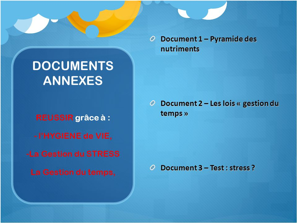 DOCUMENTS ANNEXES Document 1 – Pyramide des nutriments