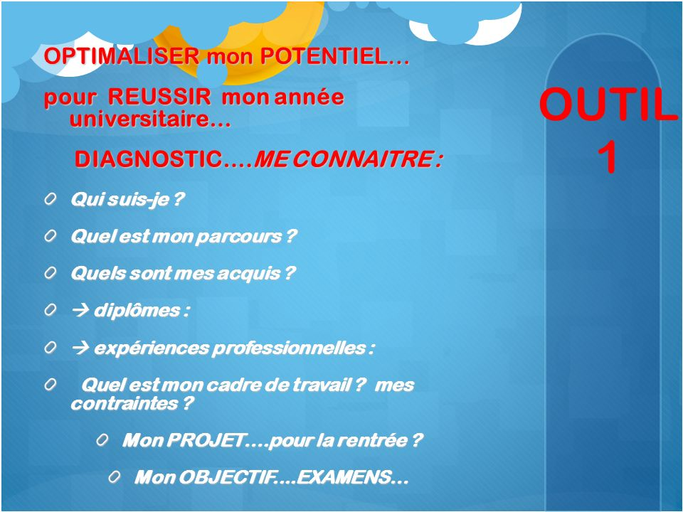 OUTIL 1 OPTIMALISER mon POTENTIEL…