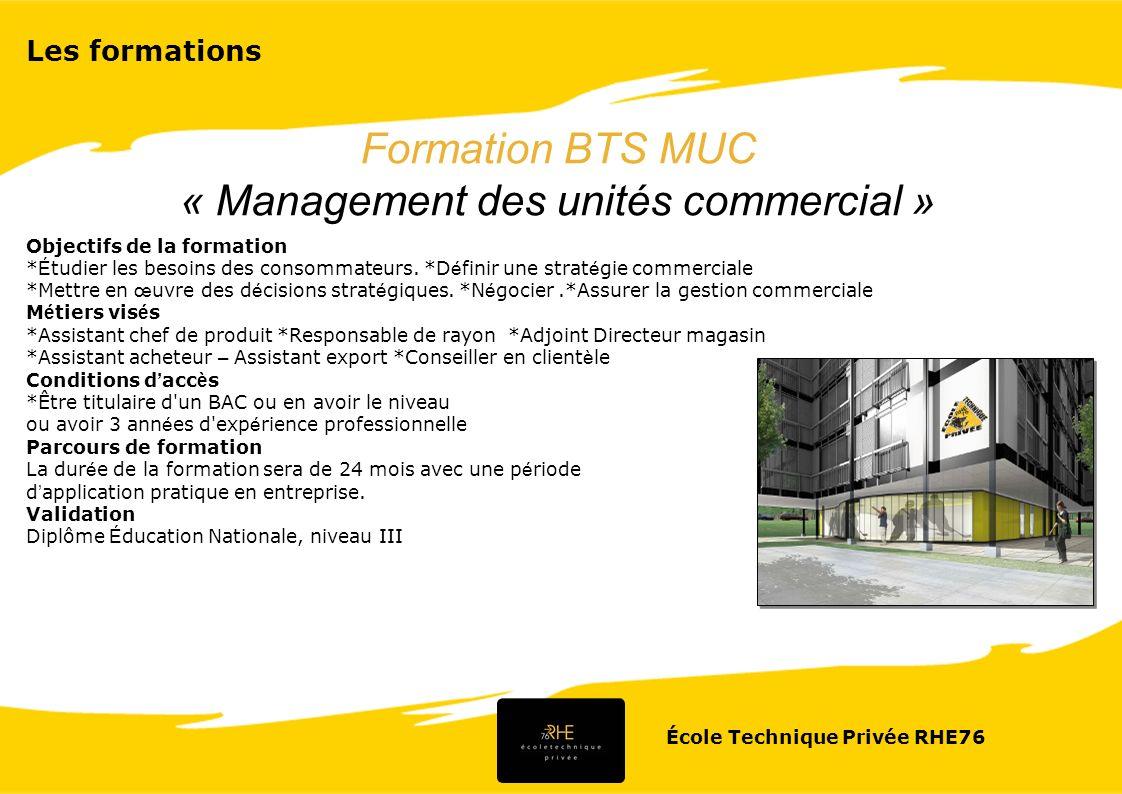 « Management des unités commercial »