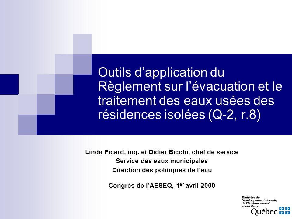 Outils d'application du Règlement sur l'évacuation et le traitement des eaux usées des résidences isolées (Q-2, r.8)