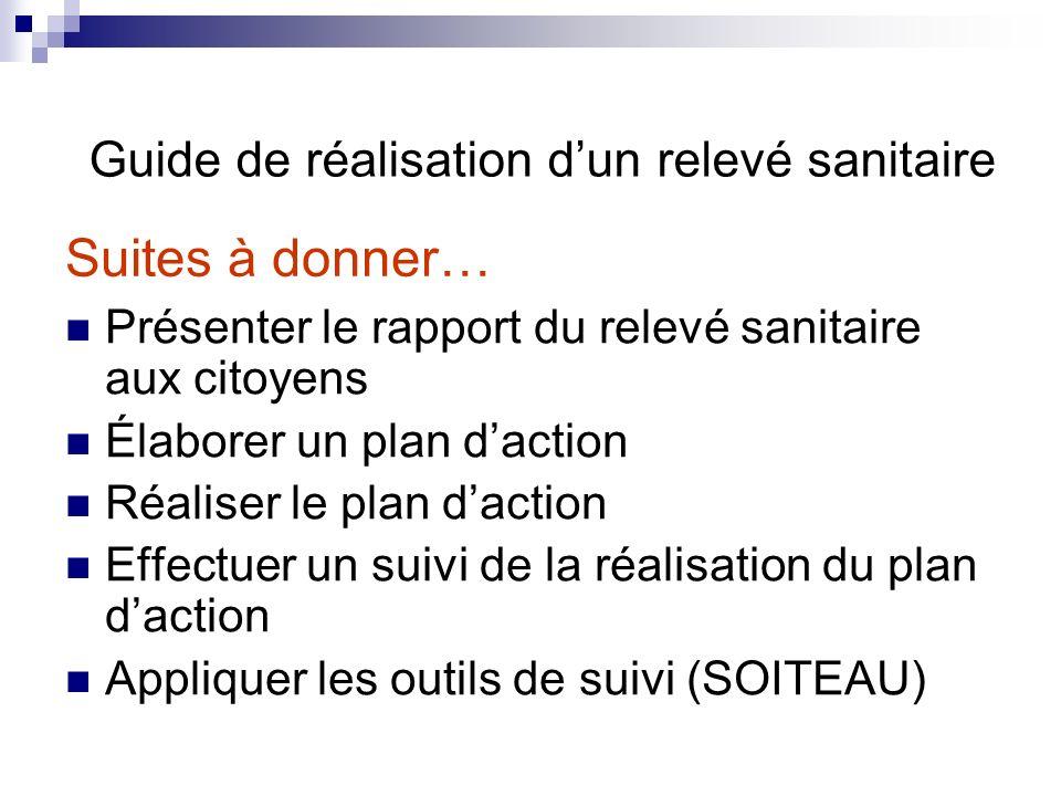Suites à donner… Guide de réalisation d'un relevé sanitaire