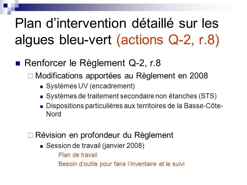 Plan d'intervention détaillé sur les algues bleu-vert (actions Q-2, r