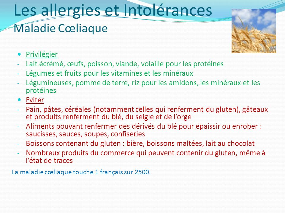 Les allergies et Intolérances Maladie Cœliaque