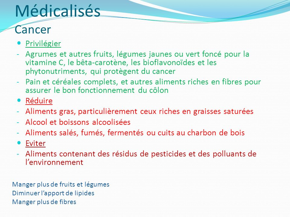 Médicalisés Cancer Privilégier
