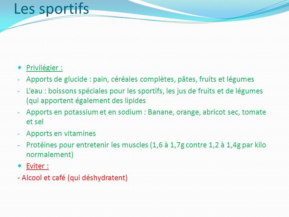 Les sportifs Privilégier :