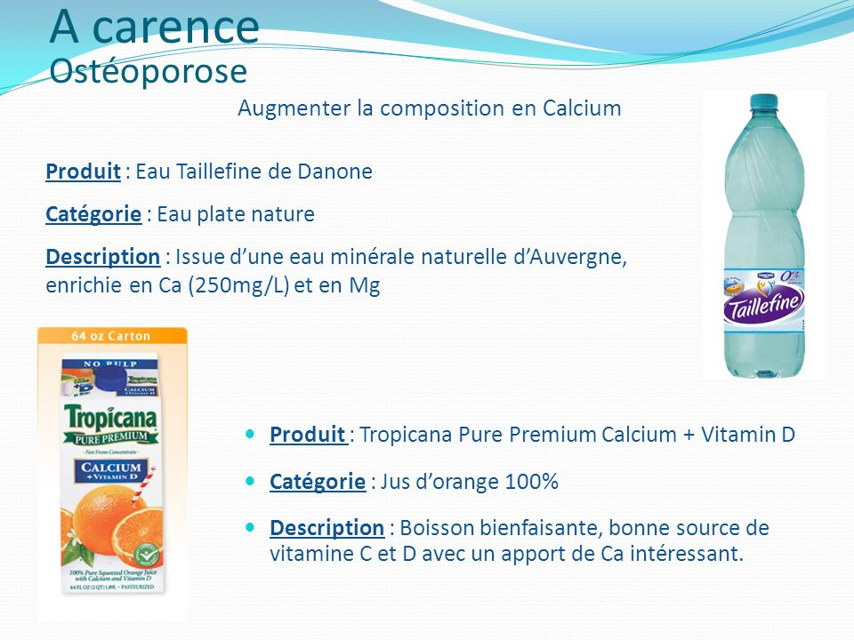 Augmenter la composition en Calcium