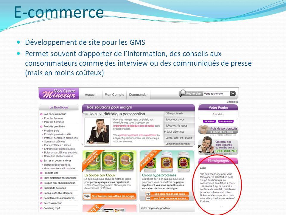 E-commerce Développement de site pour les GMS