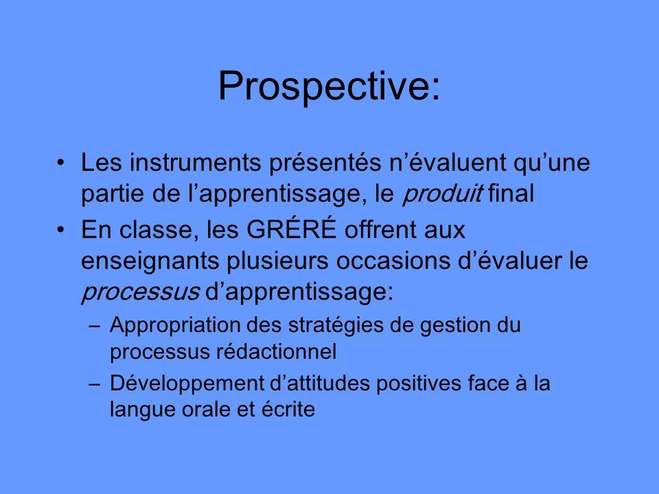 Prospective: Les instruments présentés n'évaluent qu'une partie de l'apprentissage, le produit final.