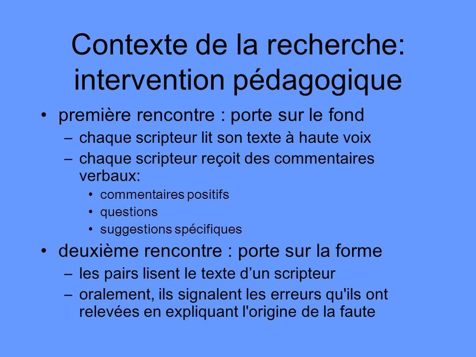Contexte de la recherche: intervention pédagogique
