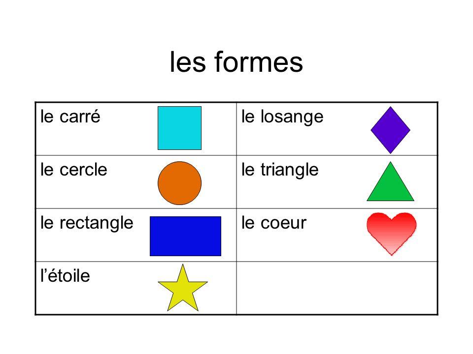 les formes le carré le losange le cercle le triangle le rectangle