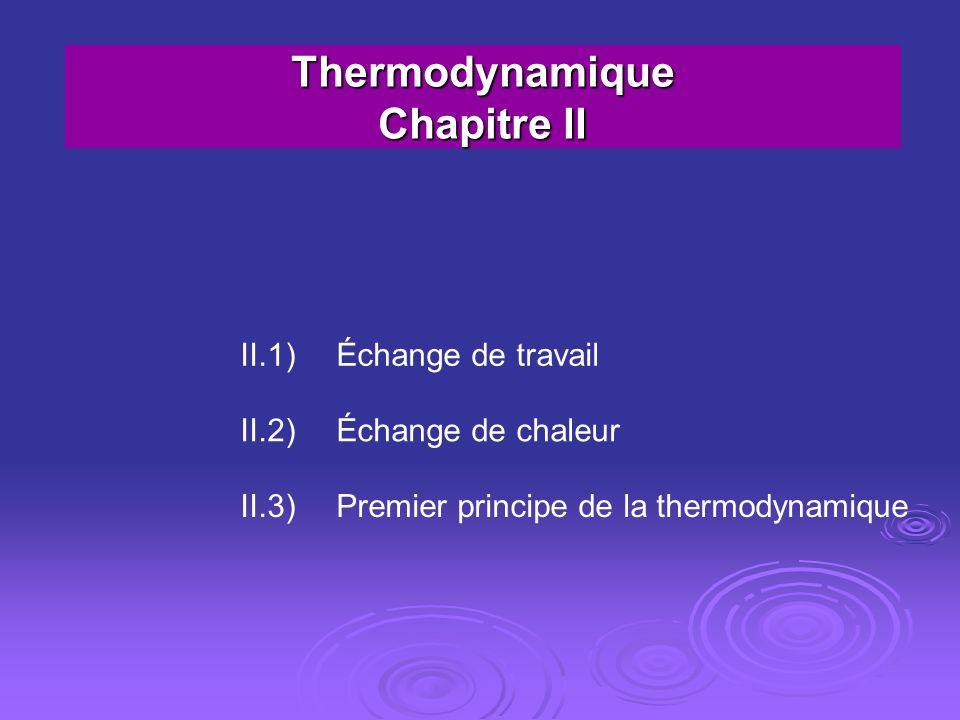 Thermodynamique Chapitre II
