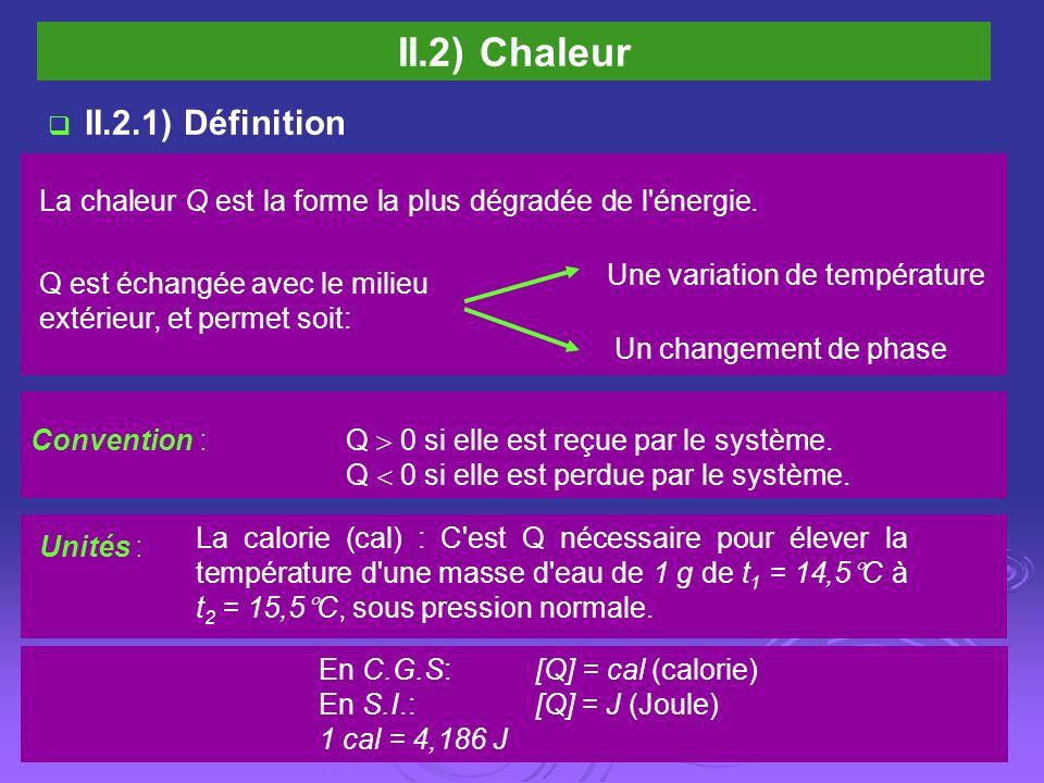 II.2) Chaleur La chaleur Q est la forme la plus dégradée de l énergie.