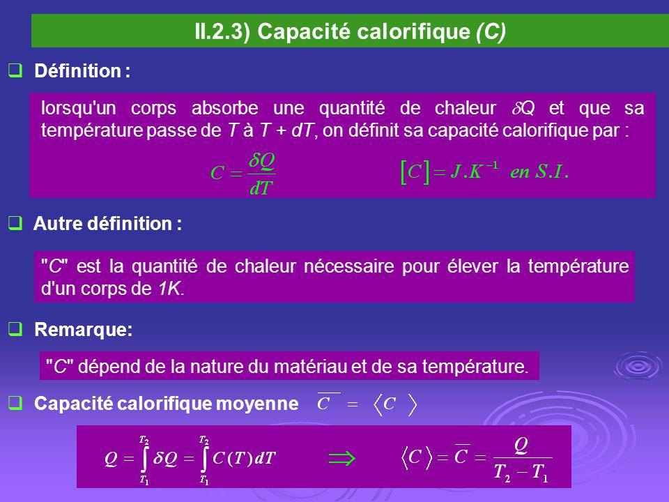 II.2.3) Capacité calorifique (C)