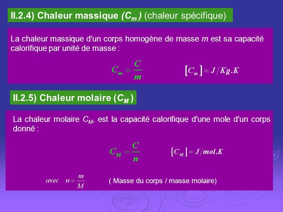 II.2.4) Chaleur massique (Cm ) (chaleur spécifique)