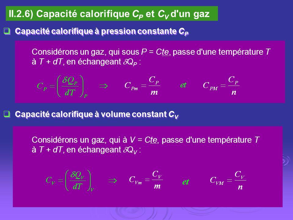 II.2.6) Capacité calorifique CP et CV d un gaz
