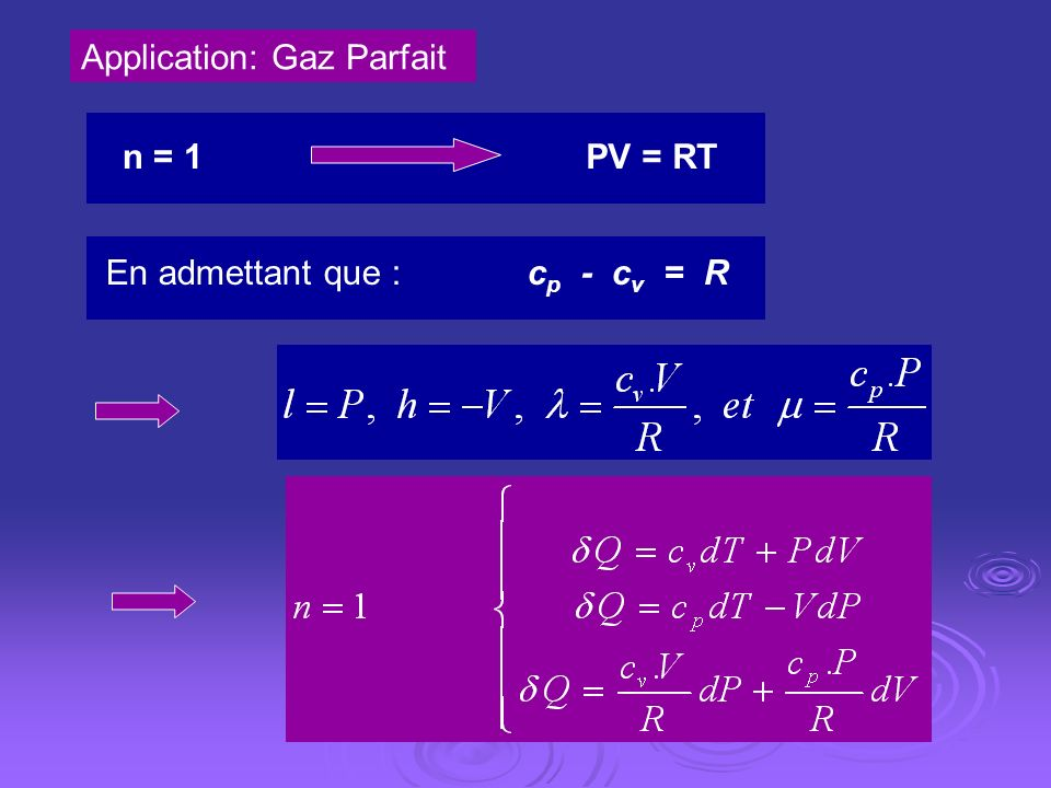 Application: Gaz Parfait
