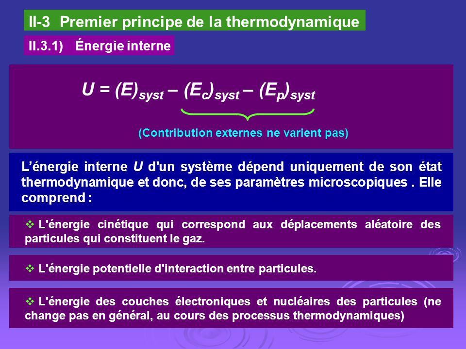 U = (E)syst – (Ec)syst – (Ep)syst