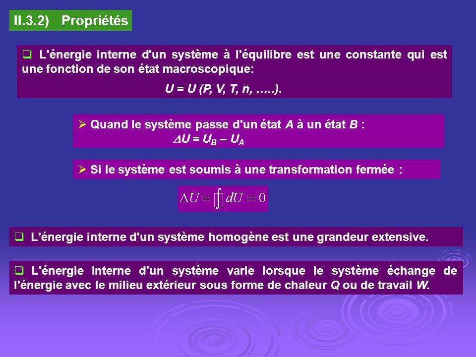 II.3.2) Propriétés L énergie interne d un système à l équilibre est une constante qui est une fonction de son état macroscopique: