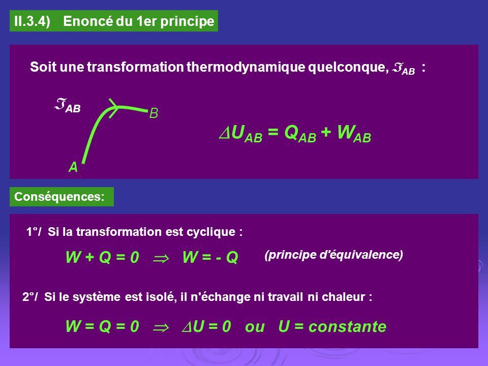 UAB = QAB + WAB AB W + Q = 0  W = - Q
