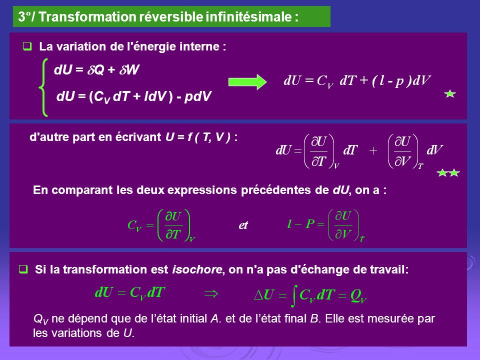 3°/ Transformation réversible infinitésimale :