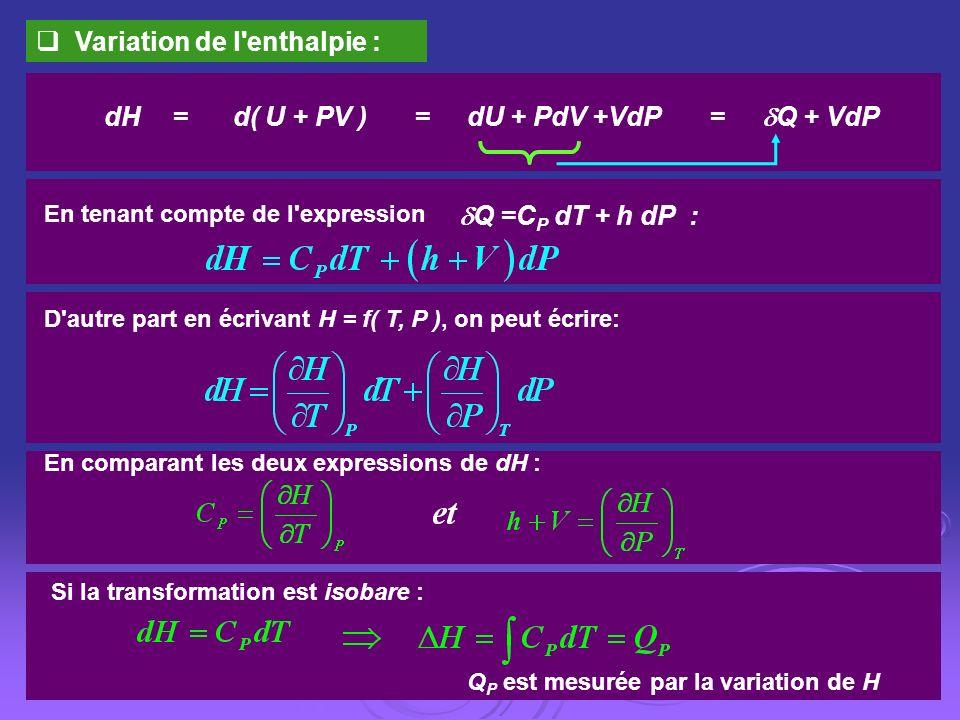 dH = d( U + PV ) = dU + PdV +VdP = Q + VdP