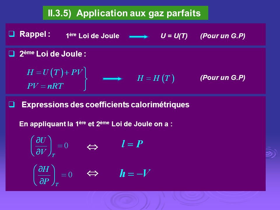 II.3.5) Application aux gaz parfaits