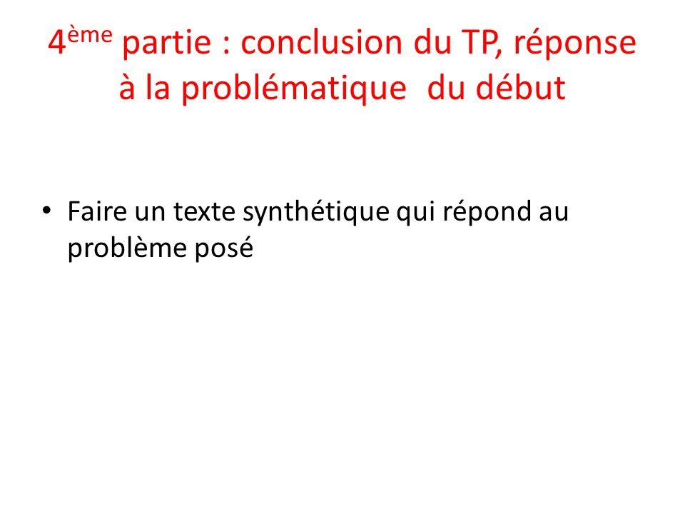 4ème partie : conclusion du TP, réponse à la problématique du début