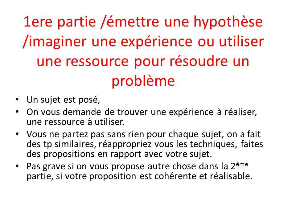 1ere partie /émettre une hypothèse /imaginer une expérience ou utiliser une ressource pour résoudre un problème