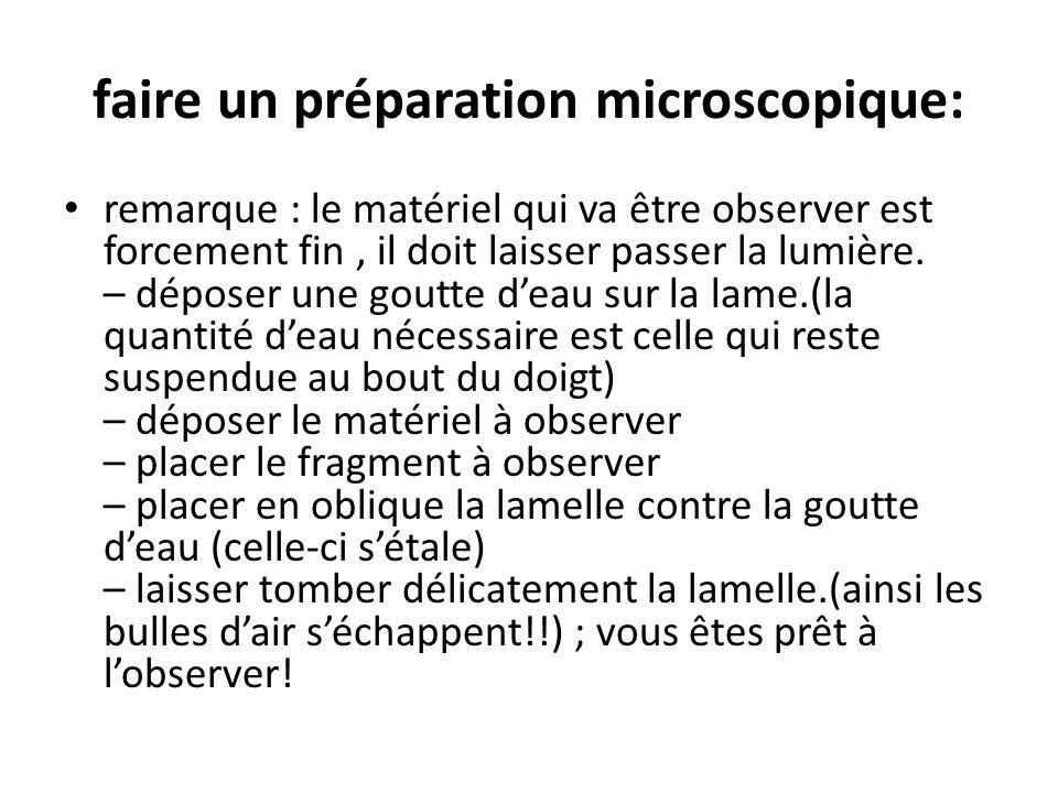 faire un préparation microscopique: