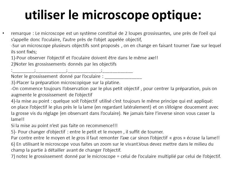 utiliser le microscope optique: