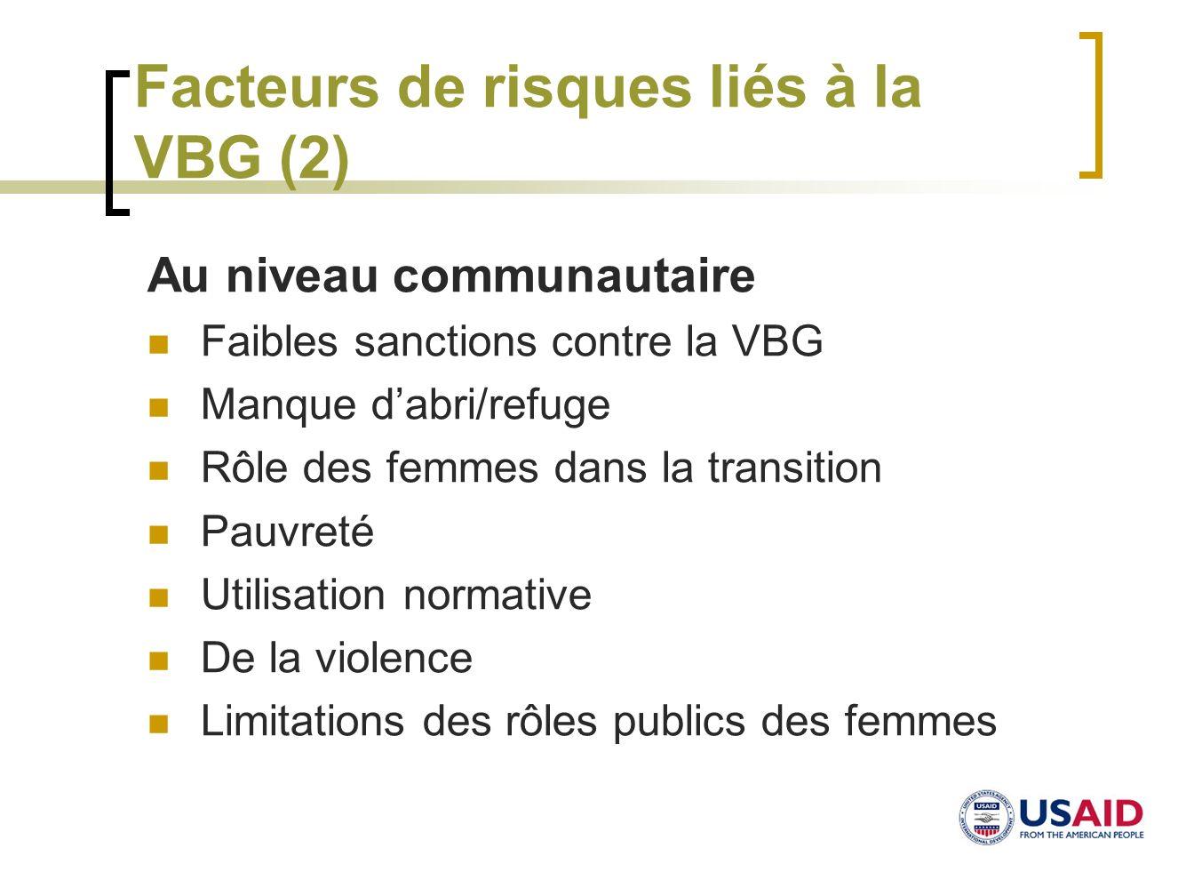 Facteurs de risques liés à la VBG (2)