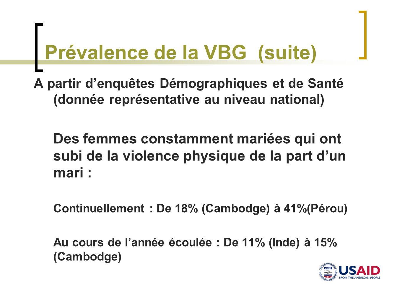 Prévalence de la VBG (suite)