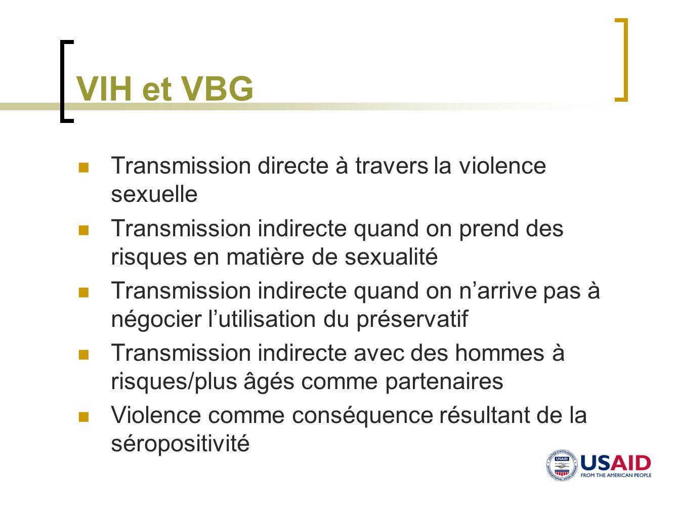 VIH et VBG Transmission directe à travers la violence sexuelle