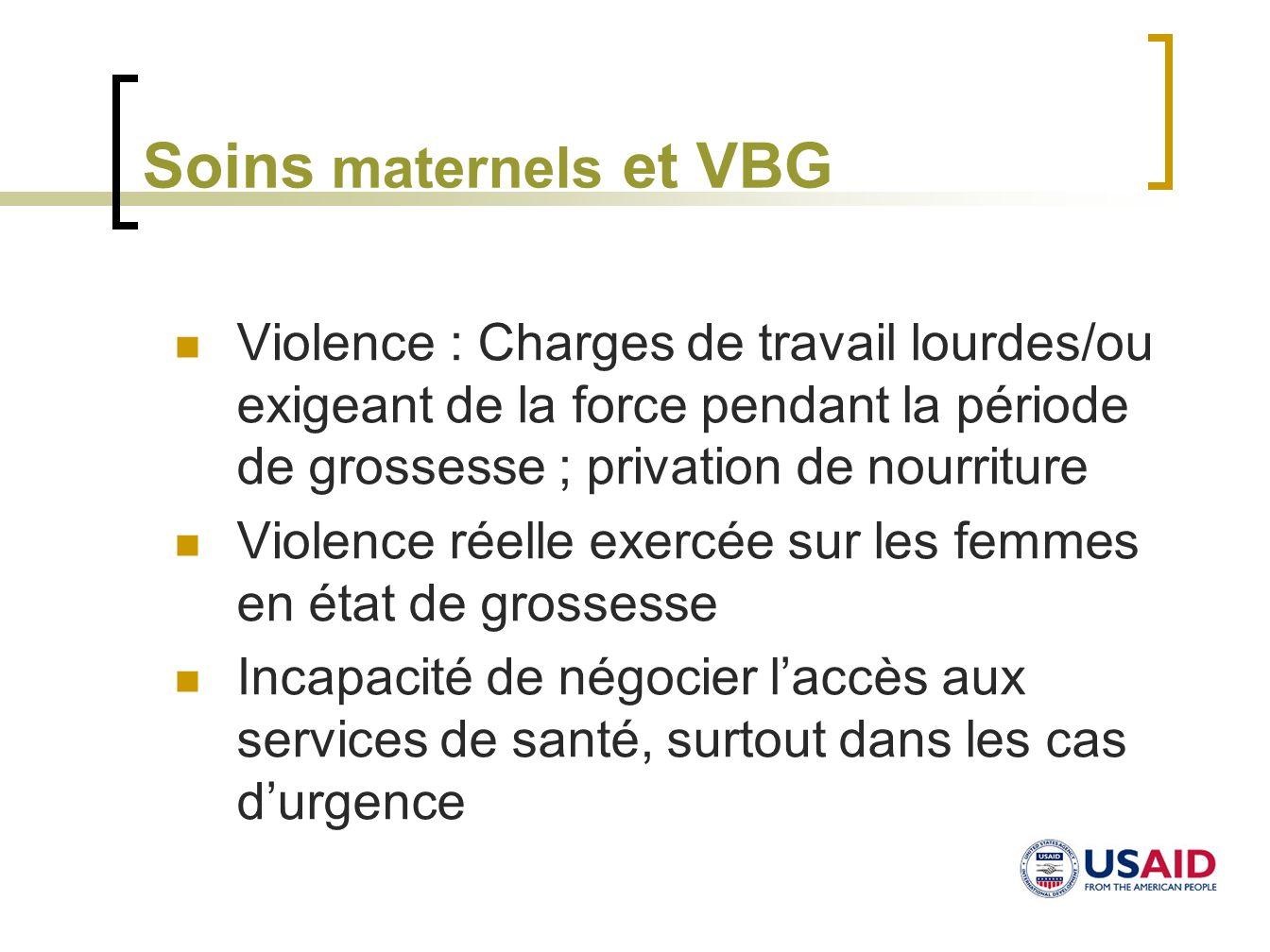 Soins maternels et VBGViolence : Charges de travail lourdes/ou exigeant de la force pendant la période de grossesse ; privation de nourriture.