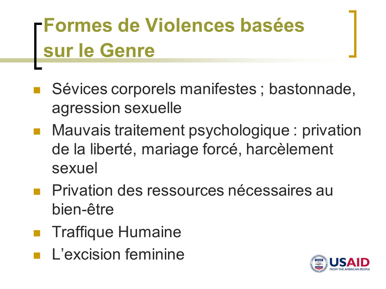 Formes de Violences basées sur le Genre