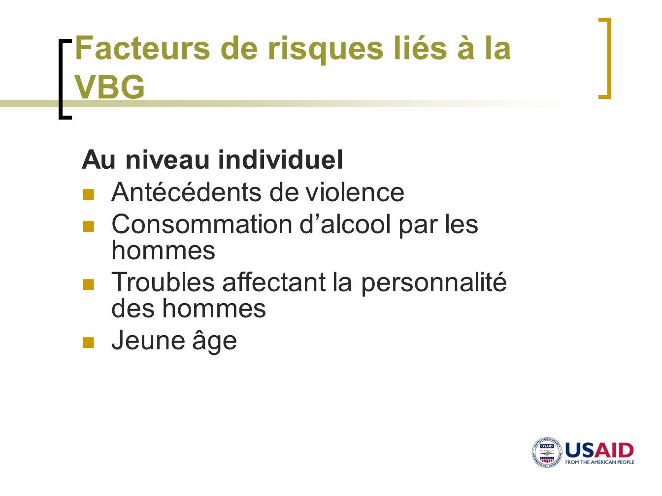 Facteurs de risques liés à la VBG