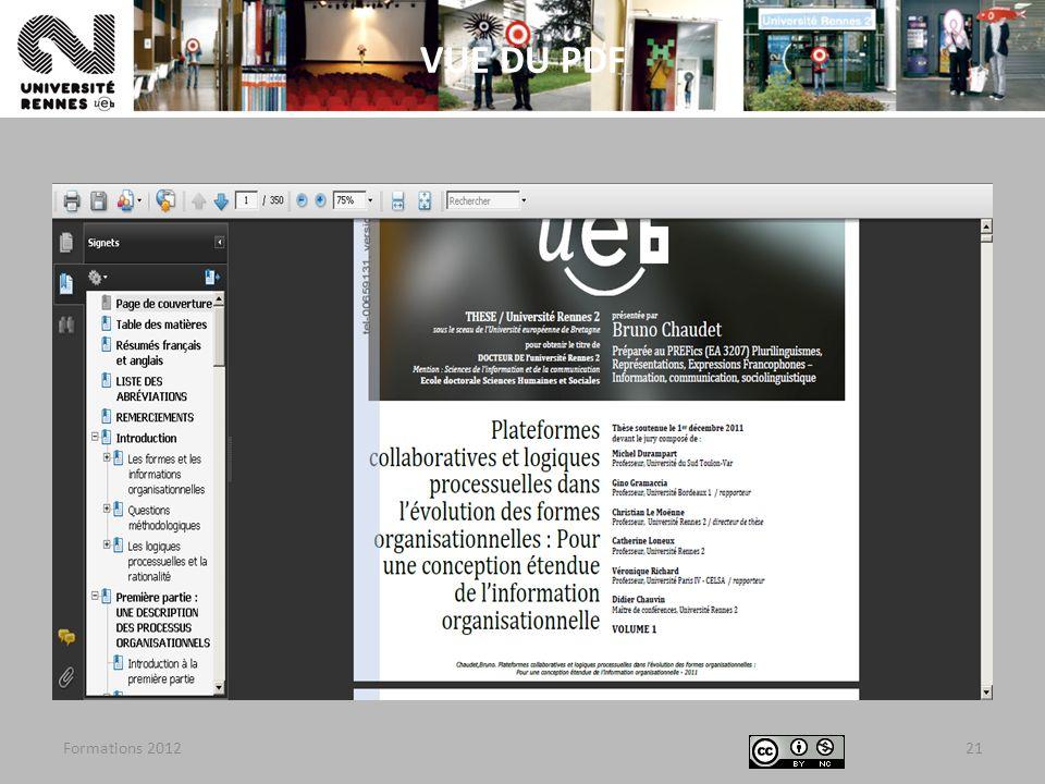 VUE DU PDF Formations 2012