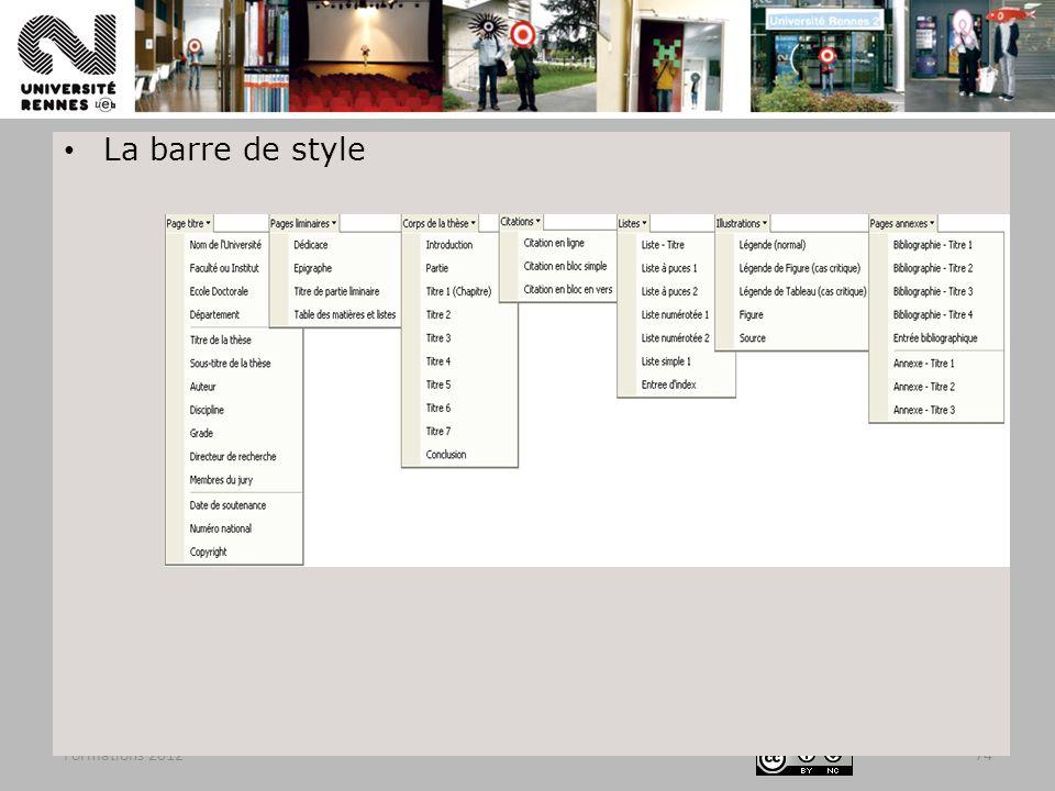 La barre de style Formations 2012