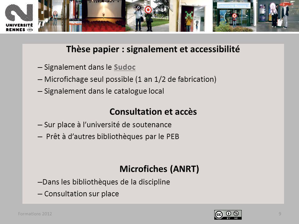Thèse papier : signalement et accessibilité